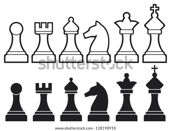 Chess Pieces Including King Queen Rook Stock Illustration