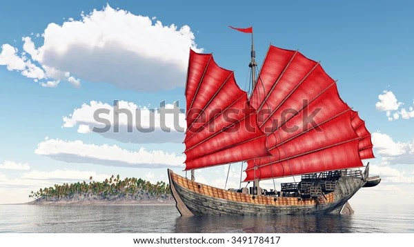 Chinese Junk Ship Computer Generated 3d Stock Illustration 349178417