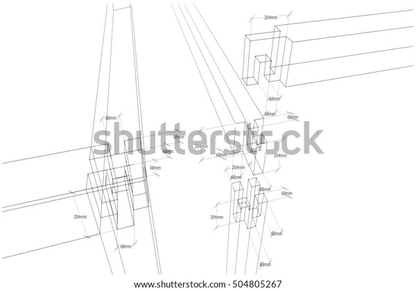 Classical Woodworking Plan Sketch Distance Numbered Stock