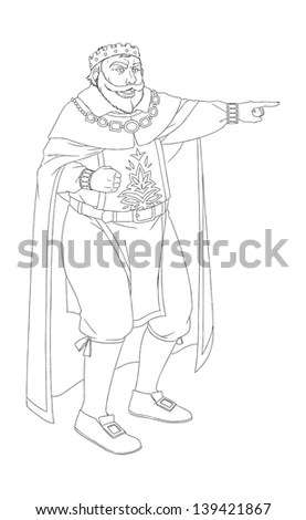 Coloring Image Medieval Fairy Tales Illustration Stock