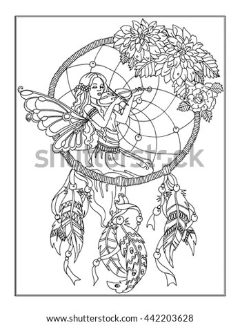 Coloring Page Enchanted Fairy Stock Illustration 442203628