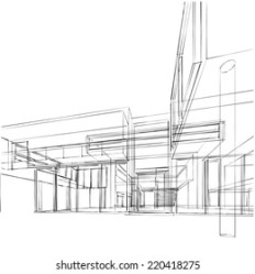Contemporary Architecture Sketch Stock Illustration 220418275