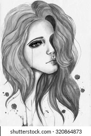Drawing Of A Girl Crying : drawing, crying, Crying, Drawing, Images,, Stock, Photos, Vectors, Shutterstock