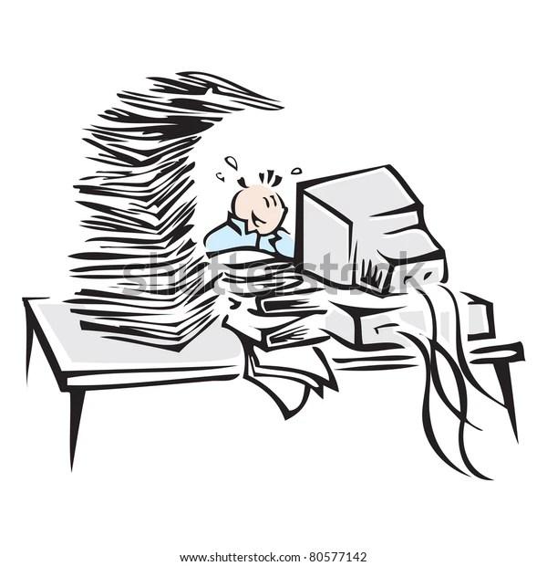 Cute Cartoon Character Hard Working Computer Stock