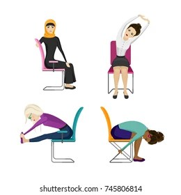 office chair exercises circle furniture chairs exercise images stock photos vectors shutterstock different nationality business women are doing in the sitting on