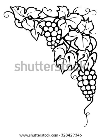 Drawing Vine Leaves Corner Stock Illustration 328429346