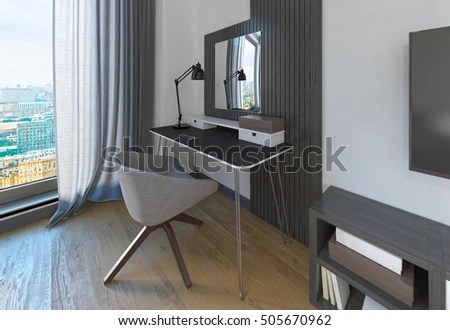 bedroom dressing table chair golden technologies lift chairs canada royalty free stock illustration of modern and in a the workspace is made contemporary design