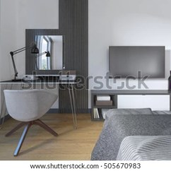 Bedroom Dressing Table Chair Wire Mesh Modern Workspace Stock Illustration And In A The Is Made Contemporary Design