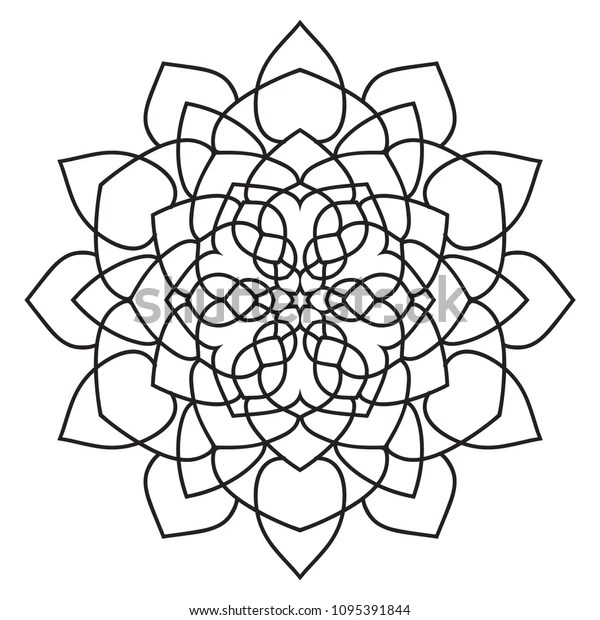 Easy Basic Mandala Coloring Book Pages Stock Illustration