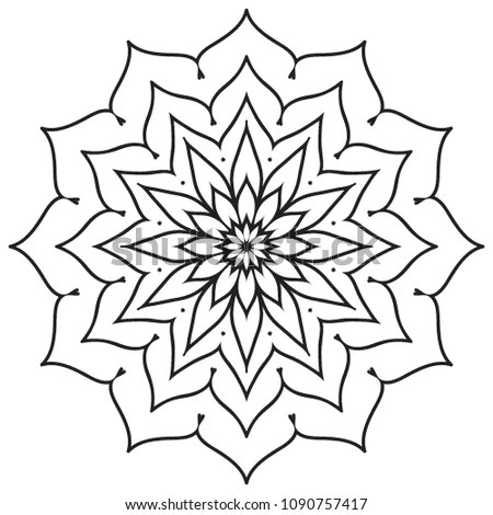 Easy Basic Simple Mandalas Beginners Coloring Stock