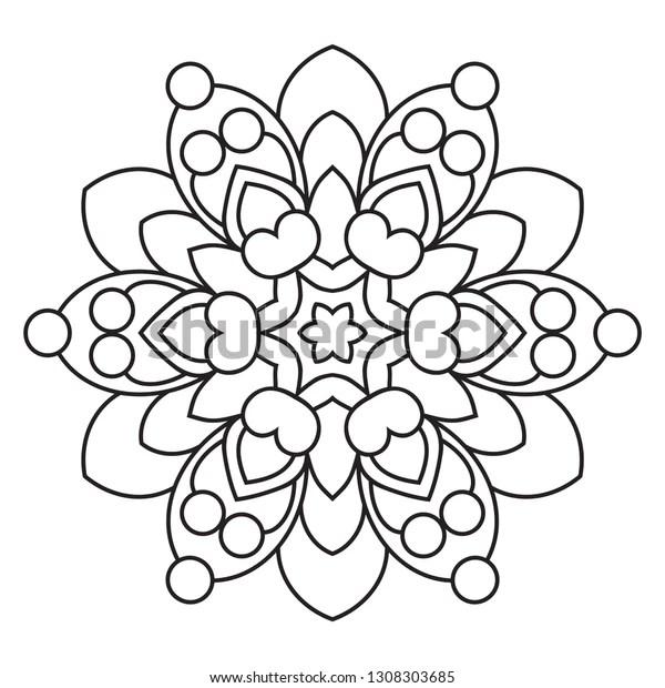 Easy Mandala Basic Simple Madalas Coloring Stock