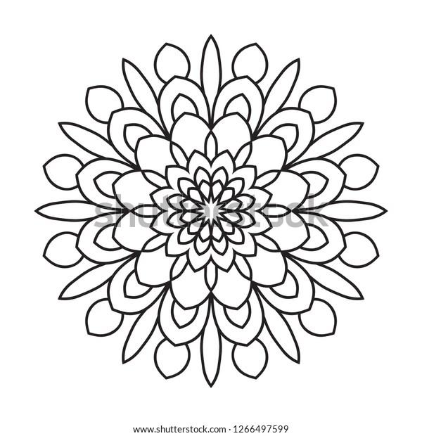 Easy Mandala Coloring Page Beginner Seniors Stock