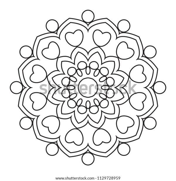 Easy Mandala Coloring Page Simple Mandalas Stock