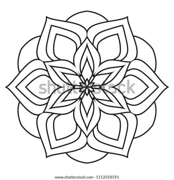 Easy Mandala Coloring Simple Basic Beginners Stock