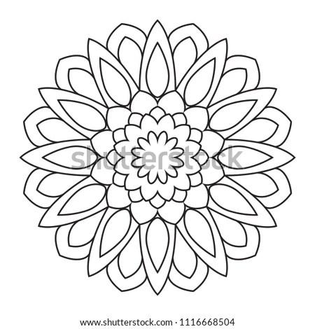 Easy Mandalas Mandala Coloring Pattern Beginners Stock
