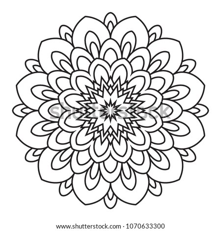 Easy Simple Basic Mandala Background Coloring Stock