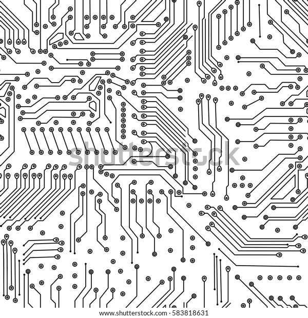 Electronic Circuit Board On White Backgroundhighresolution