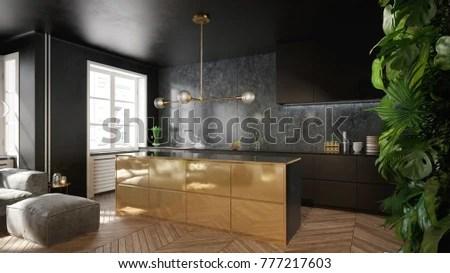 gold kitchen butcher block cart elegant black interior 3 stock illustration 777217603 and d render
