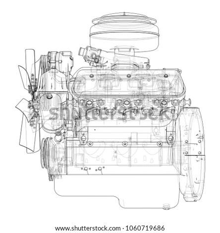 Engine Sketch Blueprint 3 D Illustration Wireframe Stock
