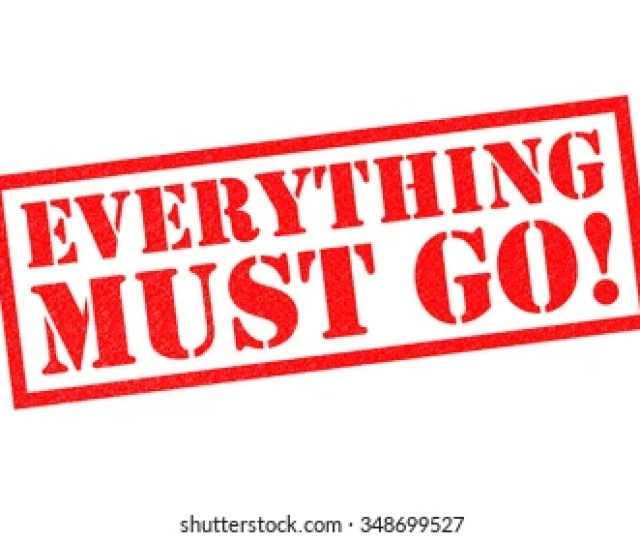 Everything Must Go Red Rubber Stamp Over A White Background
