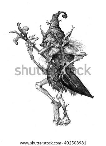 Fairy Tale Characters Trolls Old Tree Stock Illustration