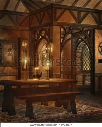 fantasy cottage interior benches table