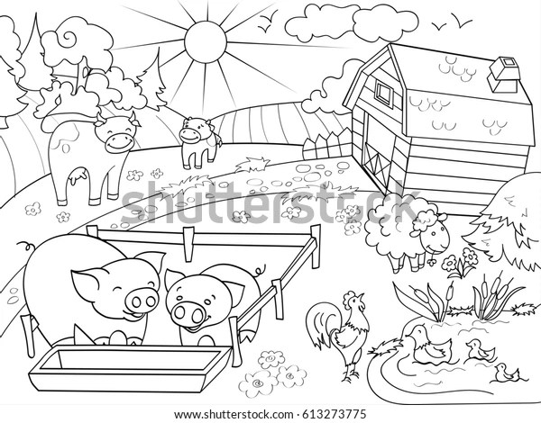 Farm Animals Rural Landscape Coloring Book Stock