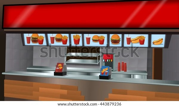 Fast Food Counter Background Stock Illustration 443879236