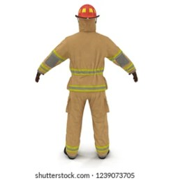 fireman fuly protective uniform isolated 3d illustration on white background [ 1000 x 1000 Pixel ]