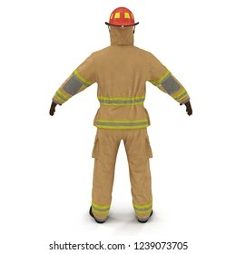 hight resolution of fireman fuly protective uniform isolated 3d illustration on white background