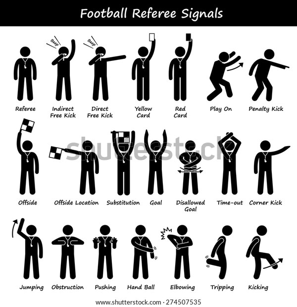 Football Soccer Referees Officials Hand Signals Stock