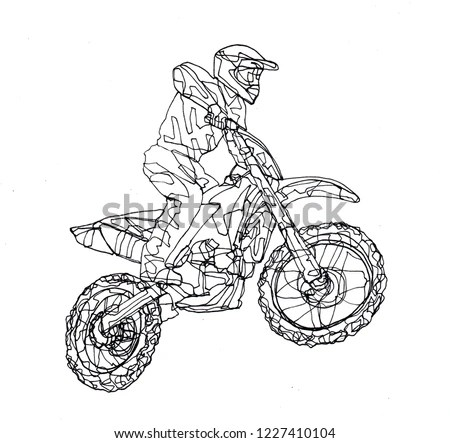 Freehand Contour Line Drawing Motocross Bike Stock