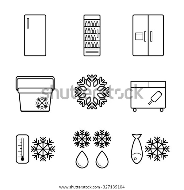 Fridge Line Icons Stock Illustration 327135104