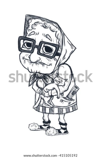 Funny Old Lady Sketch Cartoon Character Stock Illustration