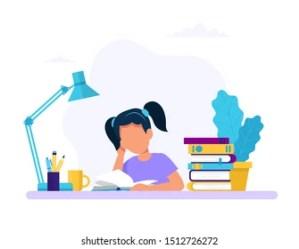 Girl Studying Cartoon Images Stock Photos & Vectors Shutterstock