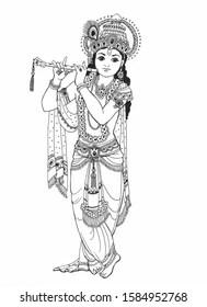 Krishna Images Black And White : krishna, images, black, white, Krishna, Black, Images,, Stock, Photos, Vectors, Shutterstock