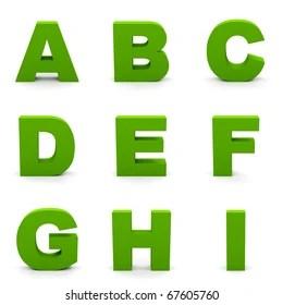green alphabet images stock