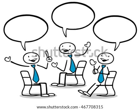 Group Cartoon Business People Talking Blank Stock