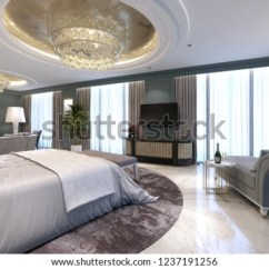Hotel With Living Room Tips On Decorating Guest Luxurious New Open Stock Illustration Royalty In A Space Bedroom And Lounge 3d Rendering