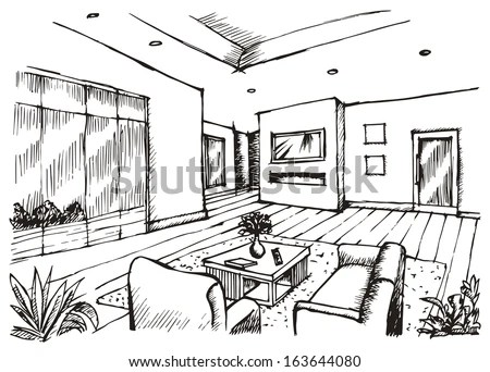 Hand Drawing Interior Design Living Room Stockillustratie