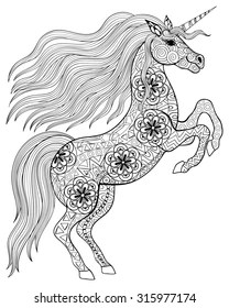 Adult Coloring Page Unicorn : adult, coloring, unicorn, Adult, Coloring, Pages, Unicorns, Stock, Images, Shutterstock