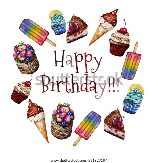 happy birthday card cakes