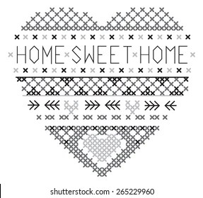 Cross Stitch Heart Images, Stock Photos & Vectors