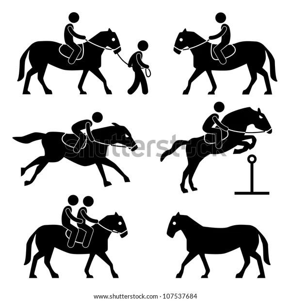 Horse Riding Training Jockey Equestrian Icon Stock