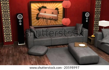 asian themed living room arrangement ideas with corner fireplace interior visualization stock illustration an of