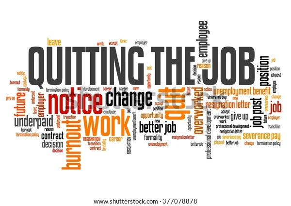 Job Quitting Work Place Resignation Word Stock Illustration 377078878