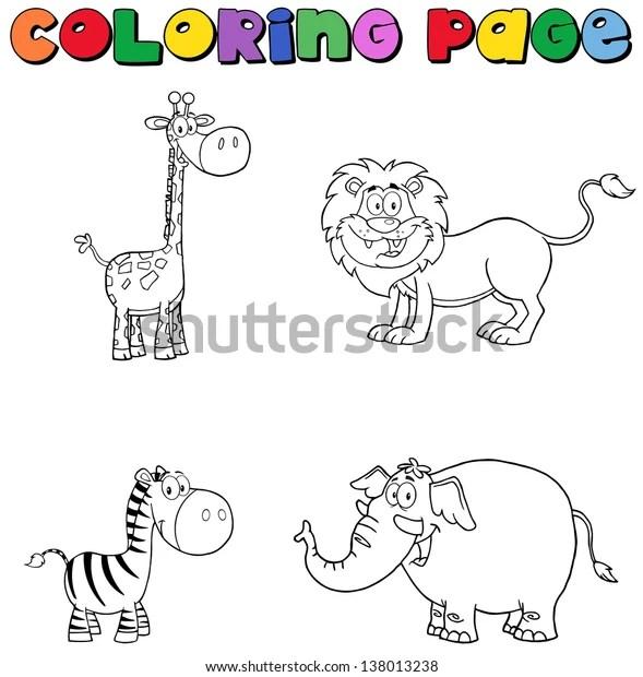 Jungle Animals Coloring Page Raster Illustration Stock Illustration 138013238