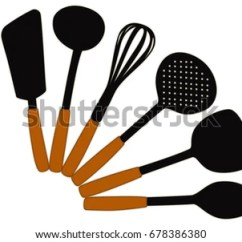 Kitchen Spoons Sink Cabinet Combo Utensils All Kinds Cooking Stock Illustration Of For