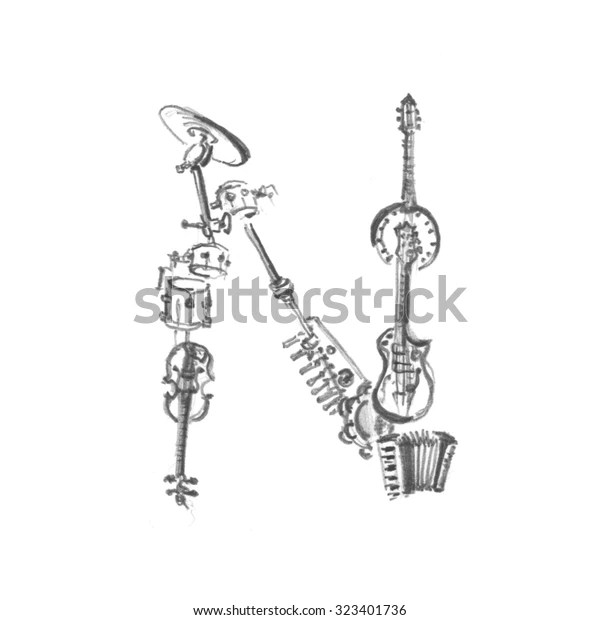 Letter N Made Musical Instruments Pencil Stock