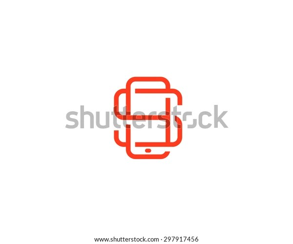 Letter S Logo Design Smartphone Lined Stock Illustration
